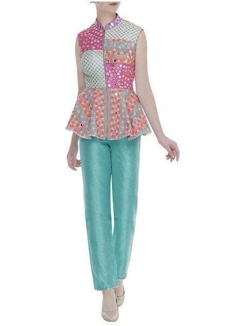 Embroidered Peplum Pant Suit Set Suits Avnni Kapur