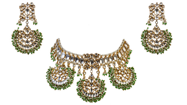 Fan Shaped Necklace Set Necklace Set Riana by Shikha Jindal