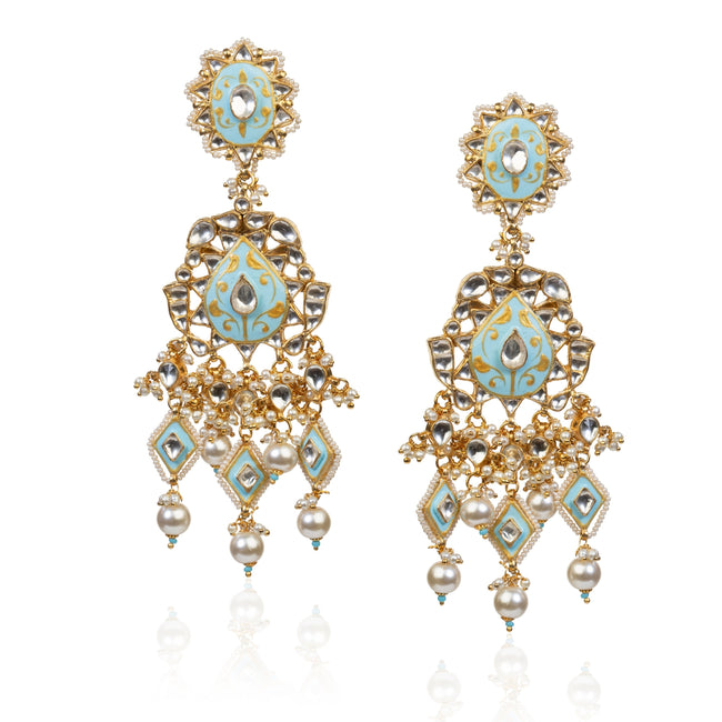 Firozi And White Earrings Earrings Riana by Shikha Jindal