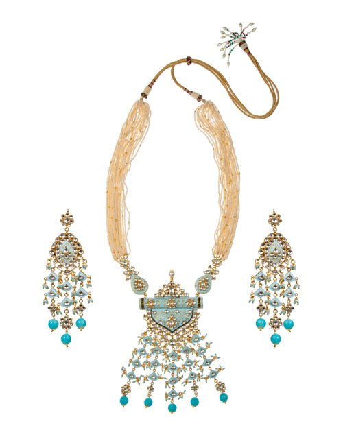 Firozi Blue Pendant Set With Bright Firozi Beads Necklace Set Riana by Shikha Jindal