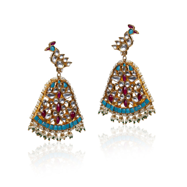 Firozi Peacock Earrings Earrings Riana by Shikha Jindal
