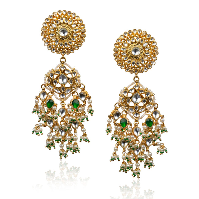 Flower Earrings With Green Stone Earrings Riana by Shikha Jindal