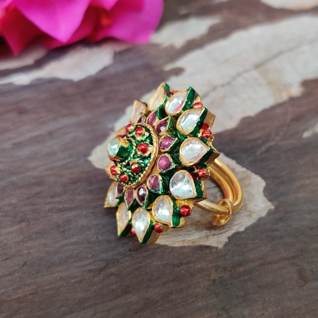 Flower Ring In White And Pink Ring Riana by Shikha Jindal