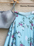 Fresh Blue Floral Skirt with Silver Grey Tafetta Bustier Lehenga Shrena Hirawat
