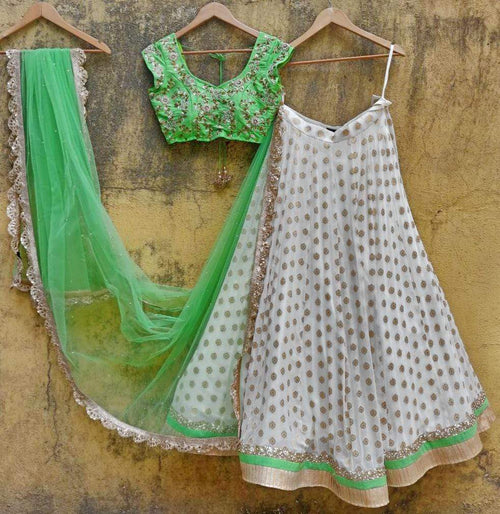 Fresh Green and White Embroidered Lehenga Lehenga Priti Sahni
