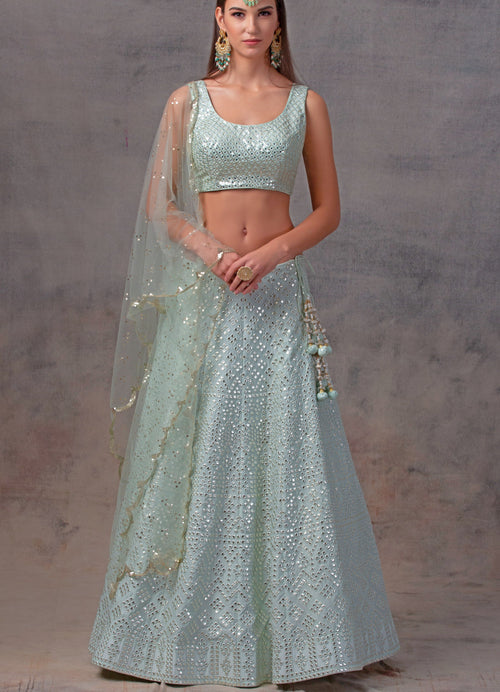 Glacier Blue Gota Patti Lehenga Set with Mirror work Blouse with Scallop Dupatta Lehenga Avnni Kapur