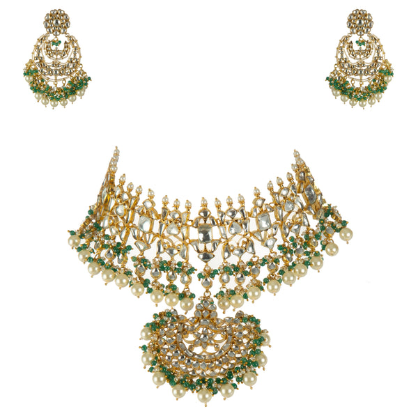 Glittering Green Bead Choker Set With Chand Baalis Necklace Set Riana by Shikha Jindal