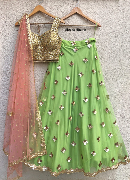 Gold Mirrorwork Blouse and Lime Green Floral Sequins Lehenga Set Lehenga Shrena Hirawat