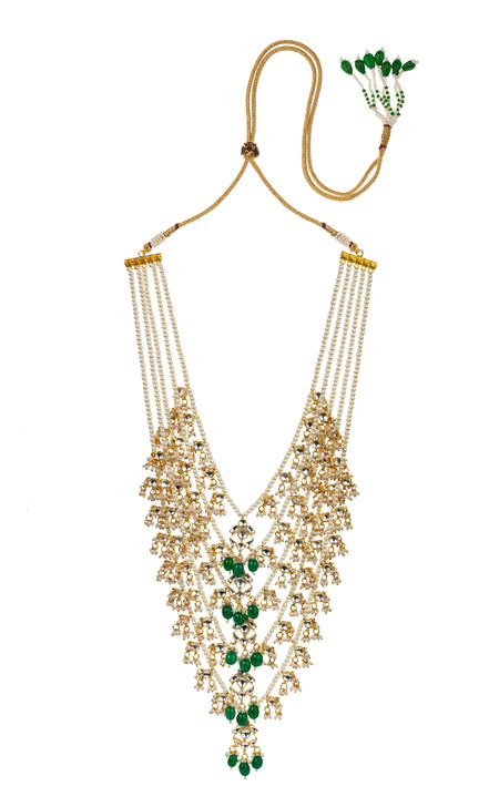 Glittering Green Bead Choker Set With Chand Baalis