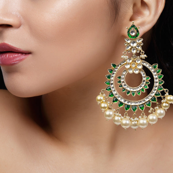 Green And White Chand Baali With Pearl Earrings Riana by Shikha Jindal