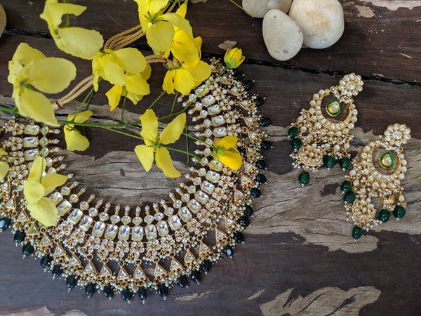 Green And White Choker Style Necklace Set Necklace Set Riana by Shikha Jindal