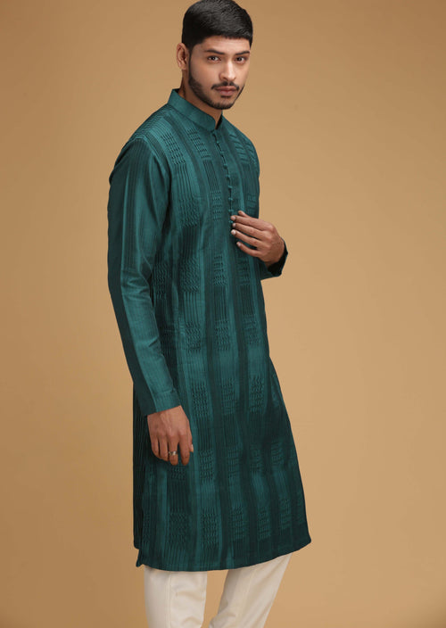 Green Jewelled Tone Silk Kurta Set Men Chatenya Mittal