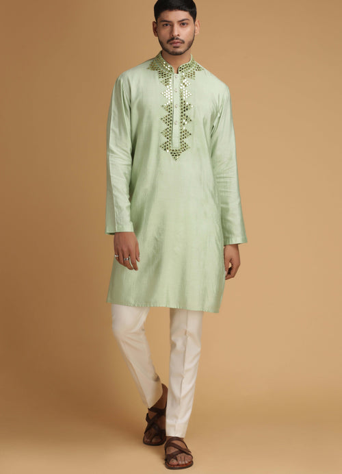 Green Mirror Work Silk Kurta Set Men Chatenya Mittal