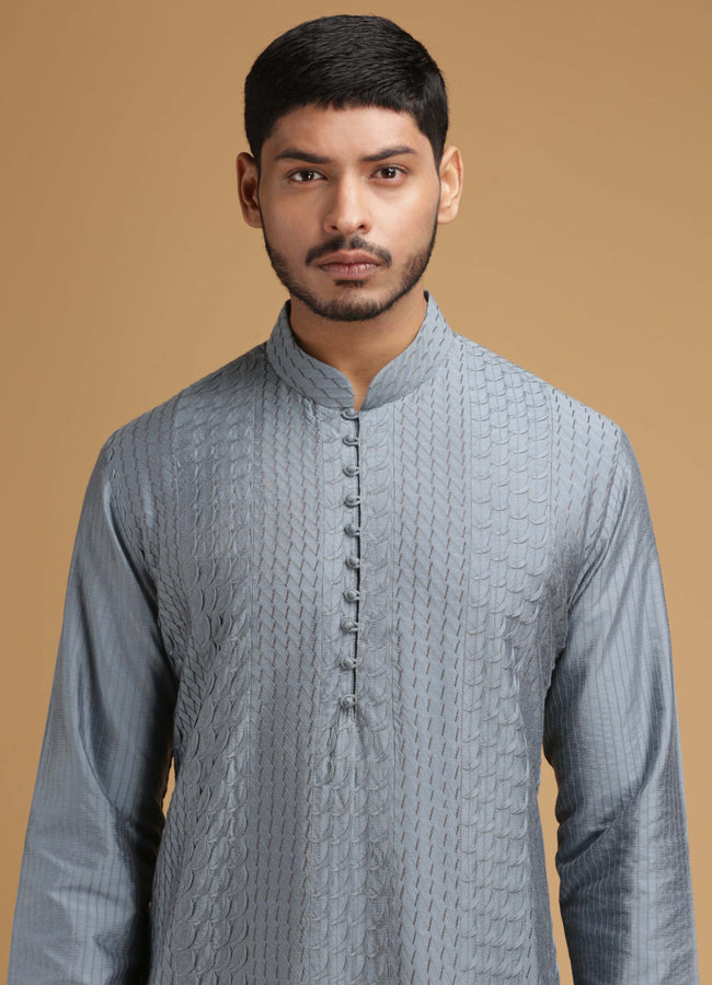 Grey Scallop Silk Kurta Set Men Chatenya Mittal