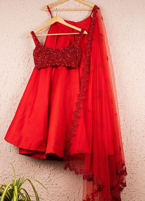 Hot Chilli Red Raw Silk Lehenga Set Lehenga Anisha Shetty