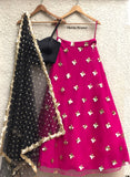 Hot Pink and Gold Sequins Skirt with Satin Bustier Blouse and Scallop Dupatta Lehenga Shrena Hirawat