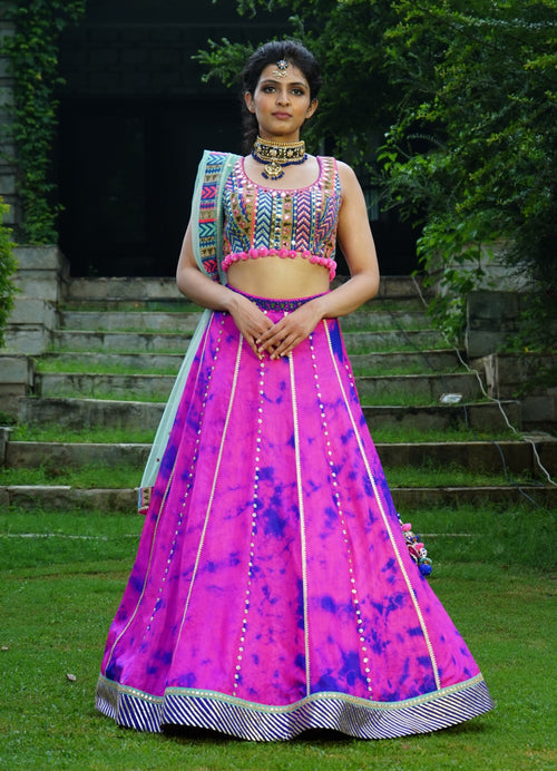 Hot Pink and Purple Tie and Dye Lehenga Set Lehenga Avnni Kapur