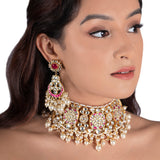 Hot Pink And White Pearl Choker Necklace Set Necklace Set Riana by Shikha Jindal