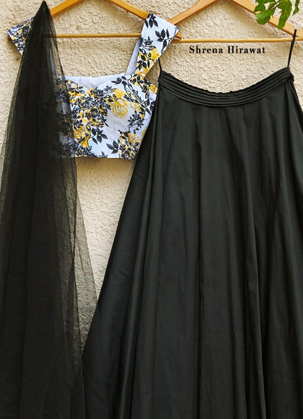Irene Blouse with Black Skirt with Black Tulle Dupatta Lehenga Shrena Hirawat