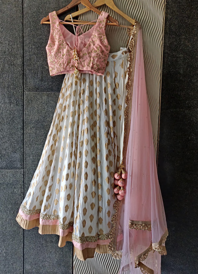 Ivory and Powder Pink Ruffle Lehenga Set Lehenga Priti Sahni