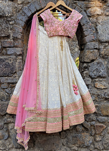 Ivory And Rose Pink Lucknowi Lehenga Set Lehenga Priti Sahni