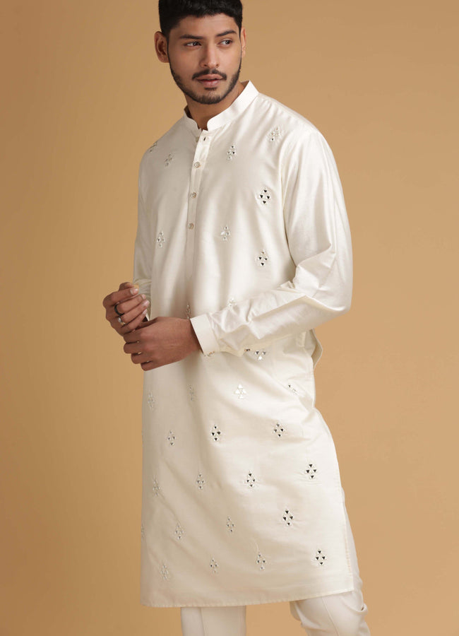 Ivory Mirror Work Silk Kurta Set Men Chatenya Mittal