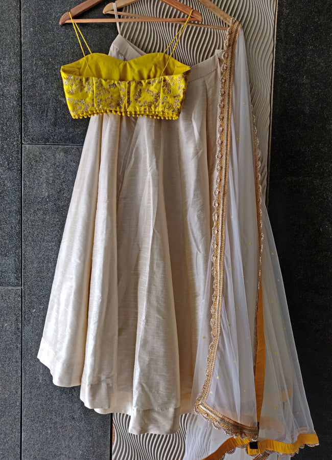 Ivory Silk Lehenga Set with Yellow Bustier and Ivory Scallop Dupatta Lehenga Priti Sahni