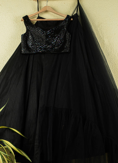 Jade Black Lehenga With Sequence Blouse And Frill Dupatta Lehenga Anisha Shetty