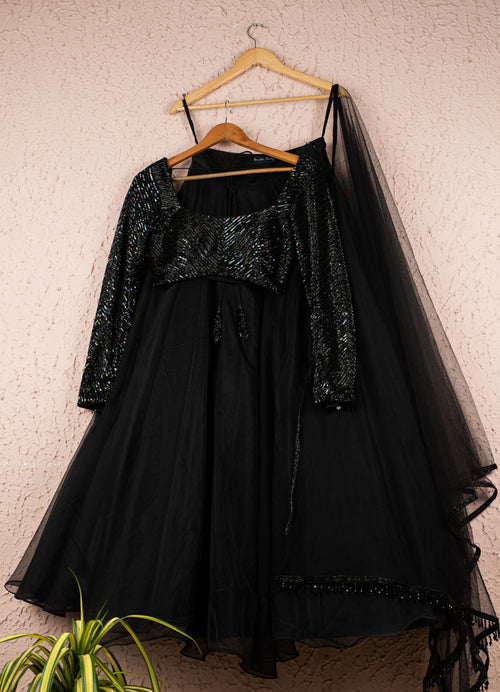 Jade Black Organza Lehenga With Full Sleeve Hand Embroidered Sequence Blouse And Tassel Dupatta Lehenga Anisha Shetty
