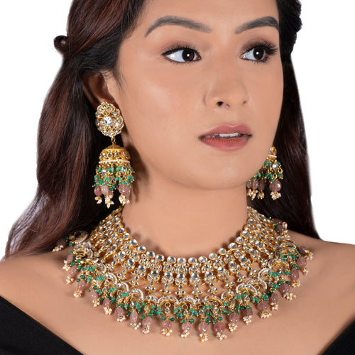 Jhumki In Moti Work And Pastel Pink Beads With Light Green Hangings Earrings Riana by Shikha Jindal