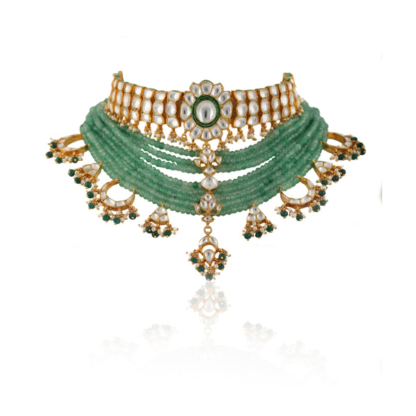 Kundan Choker Set With Green Beads and Green Studs Necklace Set Riana by Shikha Jindal