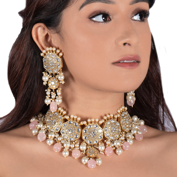 Kundan Floral Necklace Set With Pastel Pink Beads and Pearls Necklace Set Riana by Shikha Jindal