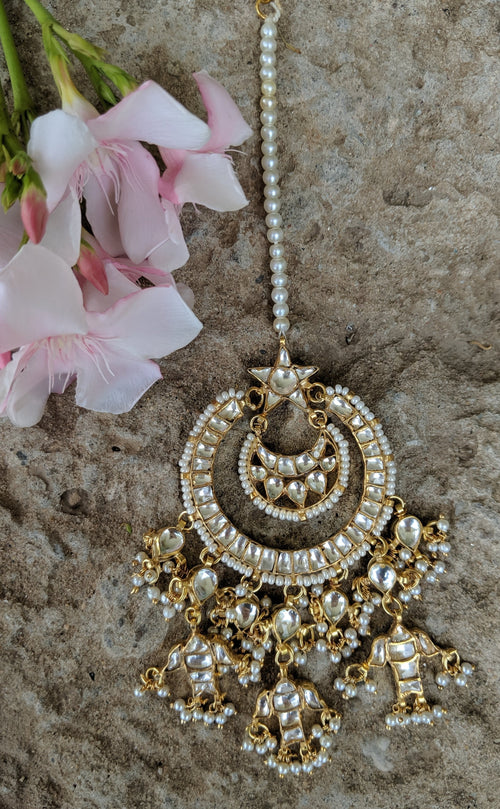 Kundan Star Tikka with Tiny Pearl Beads Head Sets Riana by Shikha Jindal