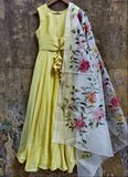 Lemon Anarkali With Hand Painted Dupatta Suits Priti Sahni