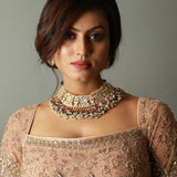 Light Pink Bead Necklace Set With Earrings Necklace Set Riana by Shikha Jindal