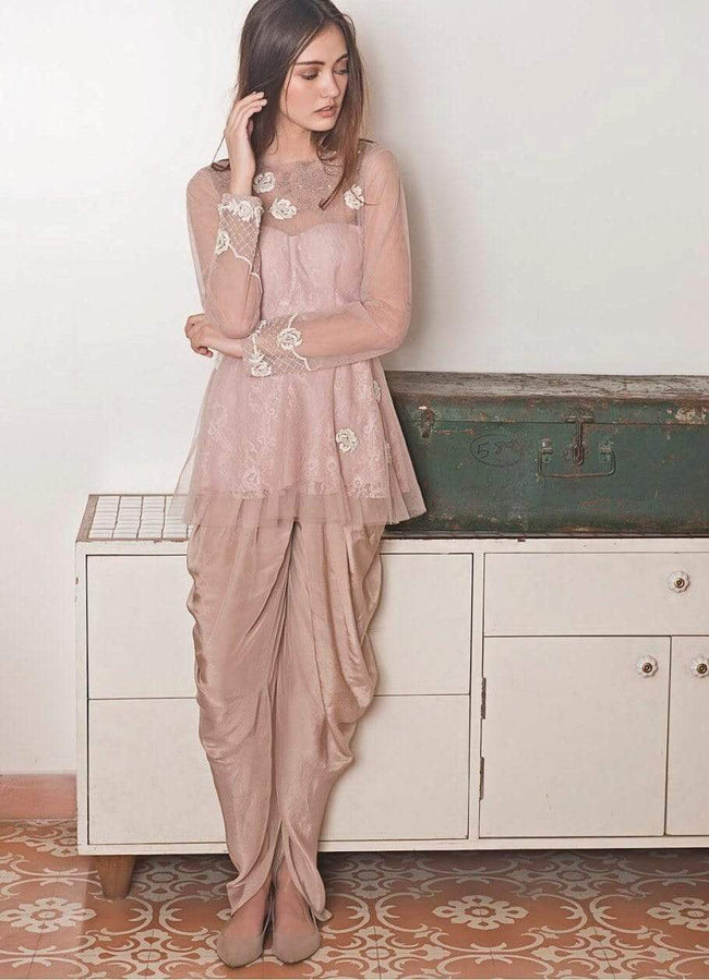 Lilac Peplum Dhoti Set Suits The Little Black Bow