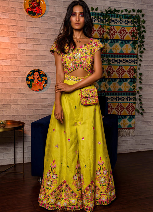Lime Green Embroidered Jumpsuit Fusion Juhi Bengani