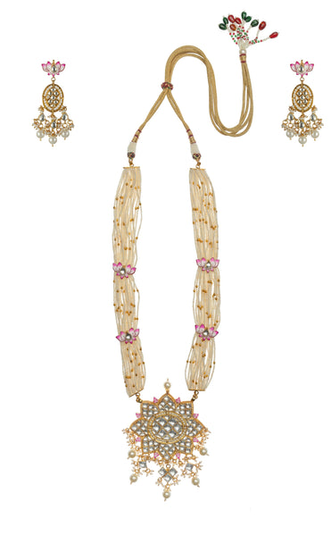 Lotus Pink And White Pendant Necklace Set Riana by Shikha Jindal