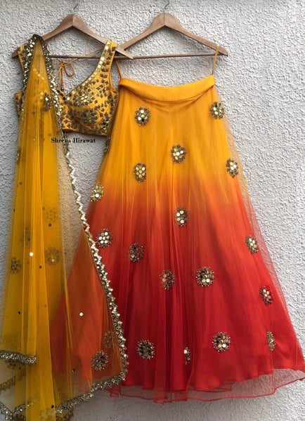 Mango Red Ombre Mirrorwork Lehenga Set with Katori Embroidered Silk Blouse Lehenga Shrena Hirawat