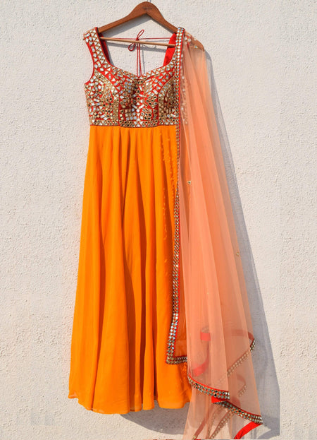 Warm Pink Anarkali with Sequence Embroidery
