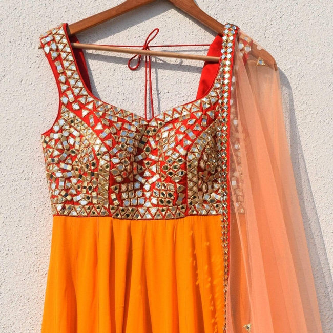 Mango Yellow Anarkali With Red Mirrorwork Yoke & Peach Dupatta Anarkali Anisha Shetty