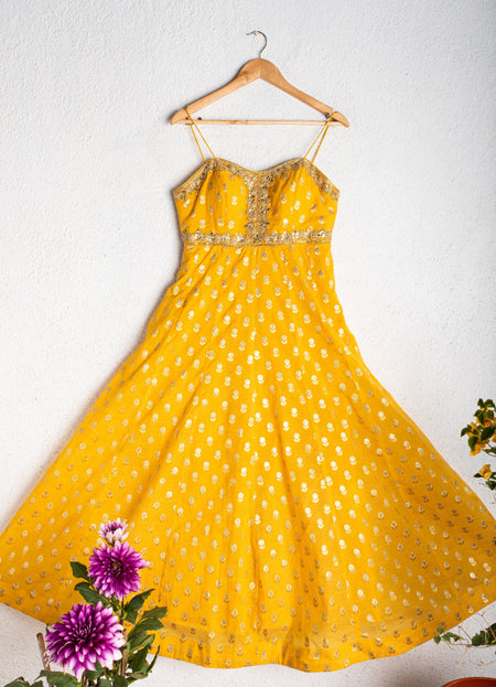 Yellow Anarkali with Orange Dupatta