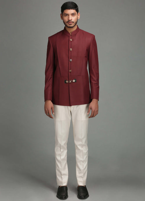 Maroon Bandhgala With Buckle Button Detail Men Chatenya Mittal