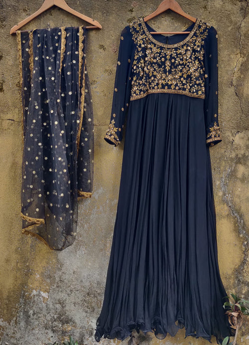 Midnight Blue Sequins and Zardosi Embroidered Anarkali Suits Priti Sahni