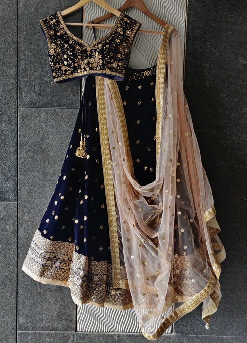 Midnight Blue Velvet Lehenga with Peach Sequins Dupatta Lehenga Priti Sahni