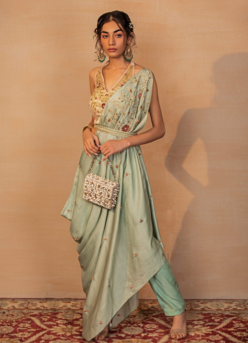 Mint Draped Saree with Peach Blouse Fusion Rashika Sharma
