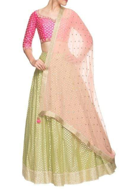 Mint Green Chanderi Lehenga with Hot Pink Zardosi Embroidered Blouse Lehenga Avnni Kapur