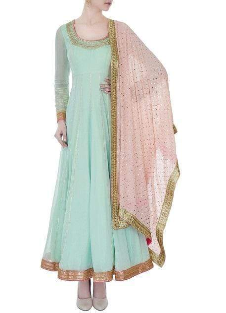 Mint Green Georgette Anarkali with Zardosi Embroidery Suits Avnni Kapur