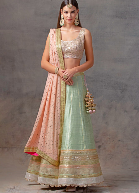 Wine Benarsi Brocade Lehenga Set