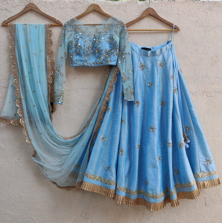 Midnight Blue Velvet Lehenga with Peach Sequins Dupatta